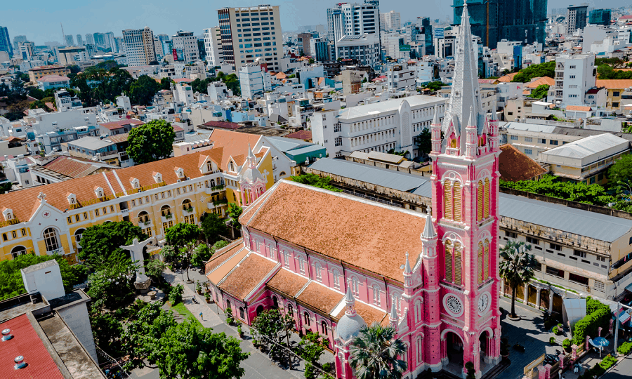 A look at Tan Dinh church from the top (Image source: VnExpress)